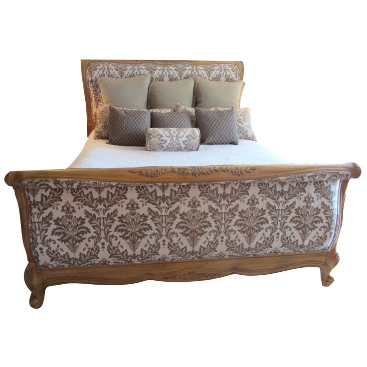 Cal king carved century bed with jacquard upholstery for French country style beds