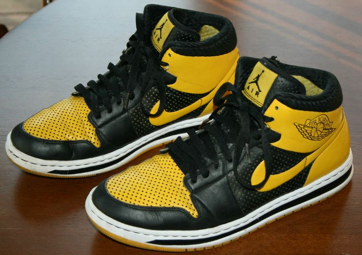 Mens Air Jordan Alpha 1 High Yellow Black shoes
