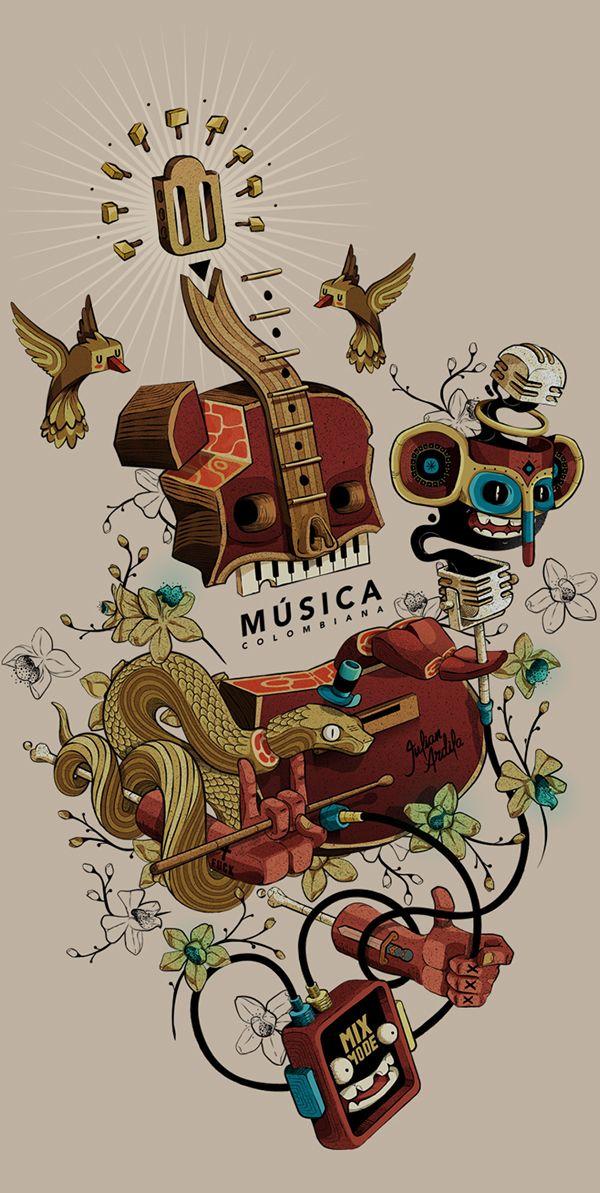 Ilustración para la revista Indie Rocks en su octavo aniversario en homenaje a las bandas emergentes colombianas. 8 Años · 8 Artistas · 8 Ilustradores Latinoamérica sin fronteras.