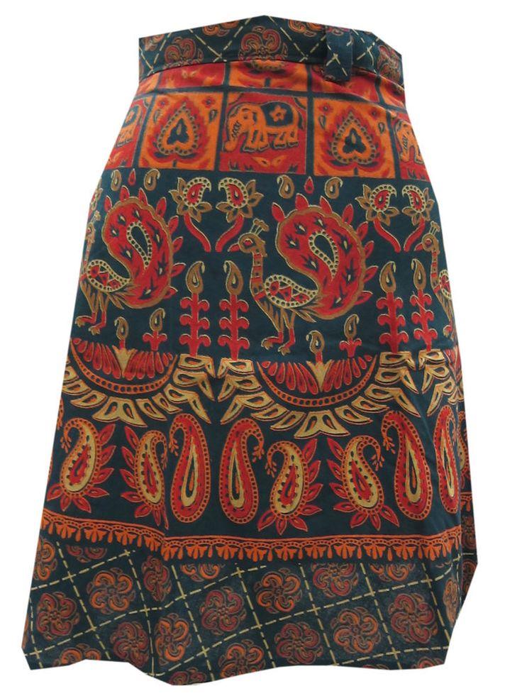 Womens Mini Wrapskirt Blue Jaipuri Printed Cotton Holiday Wear Short Wrap Dress