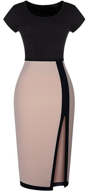 OMG this gorgeous dress is $11.99. It is available up to size XXL. Colour-block Split Bodycon Dress
