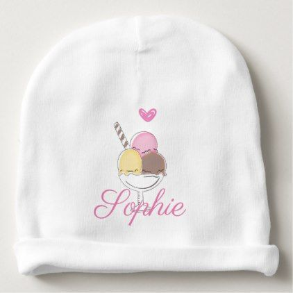Vintage/Retro Ice Cream Sundae Personnalised Baby Beanie - newborn baby gift idea diy cyo personalize family