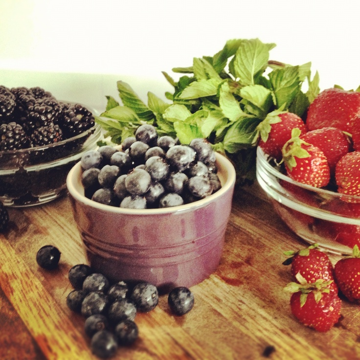 Local Berries and Mint from http://marycrimmins.com/mixed-berry-and-mint-sorbet/#: Bon Appetit, Local Berries