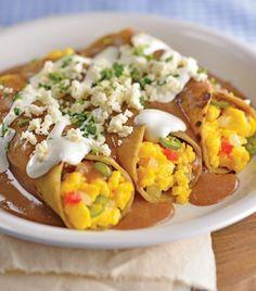 Enfrijoladas con huevo a la mexicana, desayunos típicos.Como en tu casa #mexicanbreakfasts