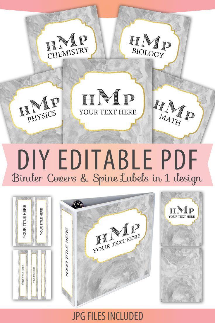 Editable Monogram Binder Cover & Spine Labels pdf, Letter Size, matching Back Cover, DIY Printable, plus JPG files, Instant Download