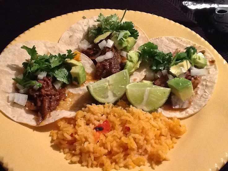 Tacos De Bierra.  Beef slowly cooked for about 7 hours. I use a crock pot and various spices to give a special flavor. This recipe was given to me by my mother in-law in 1979, Calif.