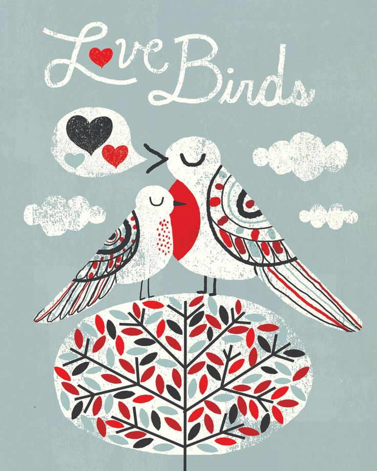 """http://www.mullanillustration.com/#/the-love-birds-collection/  Michael Mullan's illustration """"Love Birds"""" carries the main color scheme of the new bedroom"""