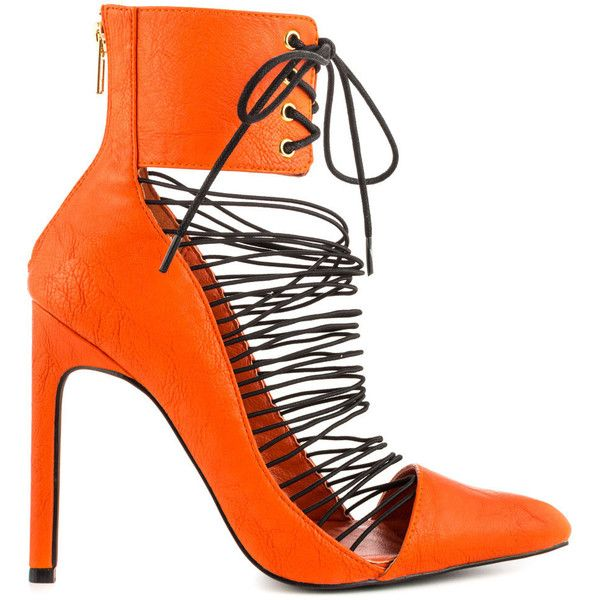 Privileged Women's Tez - Orange (65 CAD) ❤ liked on Polyvore featuring shoes, pumps, orange, orange high heel pumps, pointed toe shoes, pointed toe pumps, synthetic leather shoes and lace up high heel shoes