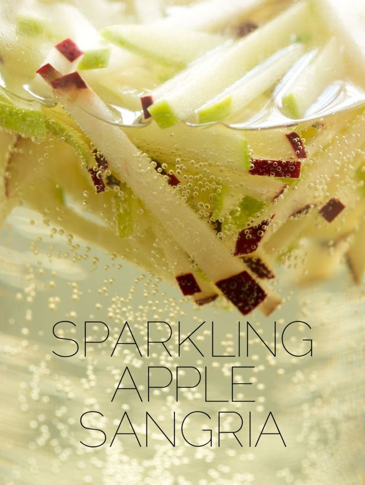 Sparkling Apple Sangria Recipe ~ super refreshing and ridiculously easy to make, only three ingredients: Apples. Wine. Champagne.