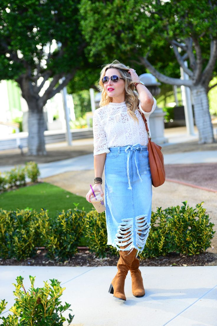 Distressed Denim Skirt, Lace Top. - http://thehuntercollector.com/distressed-denim-skirt-lace-top/