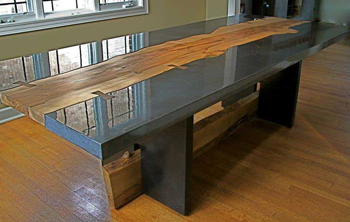 Concrete Kitchen Tables Table Top Chic And Durable Intended Ideas - Concrete dining room table