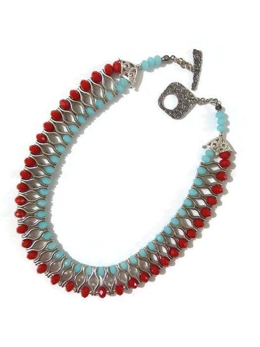 Discount Turquoise Beaded Bib Statement от SERMINCEJEWELRY