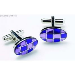 Purple and Mauve Ovals Cufflinks - Checkered cufflinks are stylish additions to your personal cufflink range.