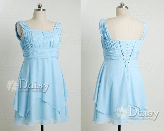 Blue Bridesmaid DressVintage Blue Chiffon by DaisyBridalHouse, $83.00@nicolemurrah