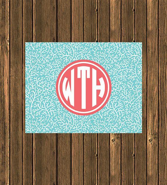 SALE  Personalized Preppy Monogram Notecard  Aqua by jpurifoy