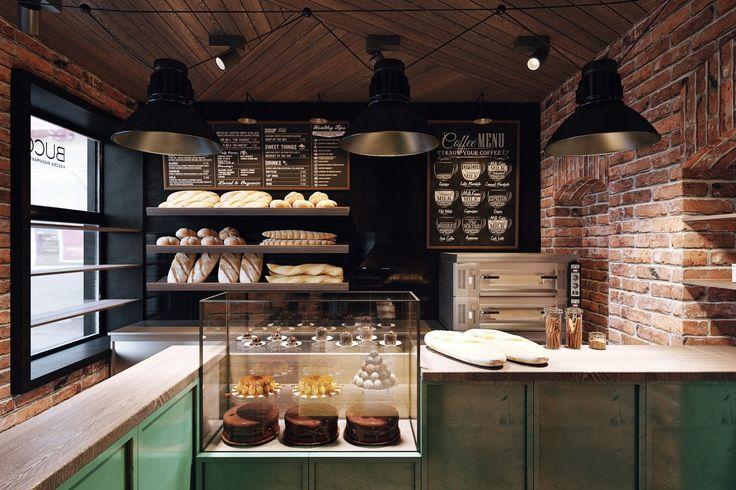 В дальнем зале кофейни расположена бакалея с винтажными витринами для свежей выпечки. Здесь дизайнеры снова использовали бирюзовый цвет.