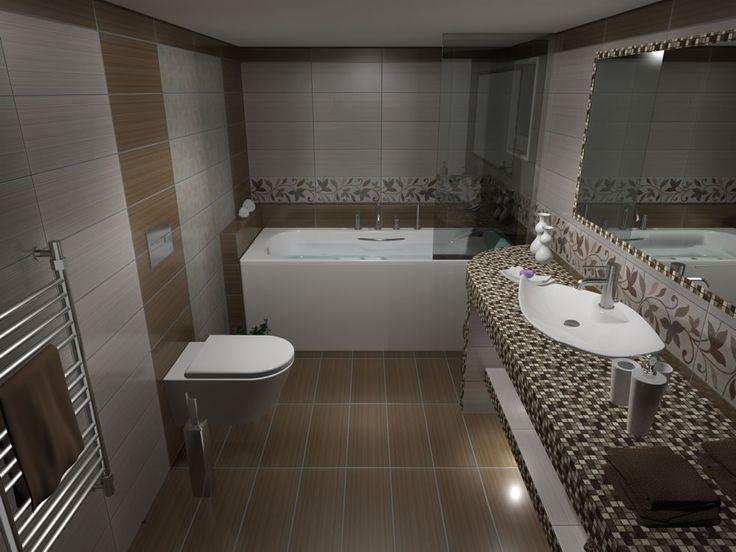 Όψη μπάνιου από την είσοδο. Το συνολικό πλάτος του μπάνιου είναι 180 cm αλλά με την κατασκευή του κτιστού πάγκου απομένουν 130 cm. Έτσι λοιπόν για την καλύτερη αισθητική του χώρου τοποθετήθηκε κρεμαστή λεκάνη με εντοιχισμένο καζάνι.