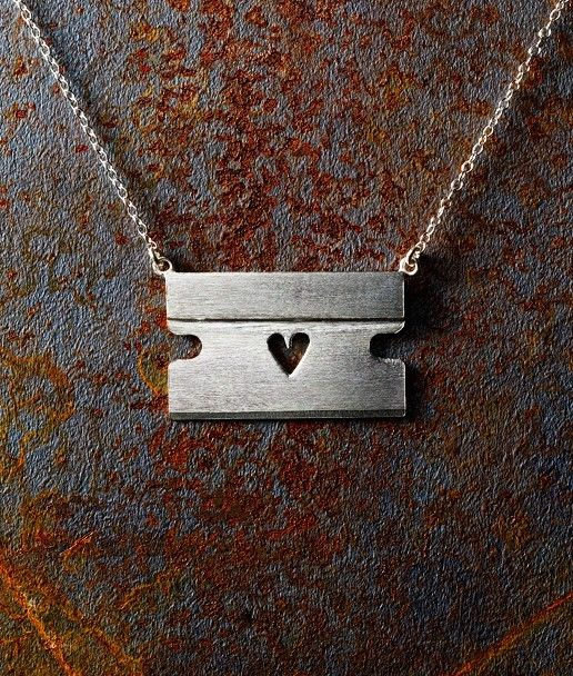 Razorblade with Heart Necklace by belovedlittlelamb on Etsy, $125.00