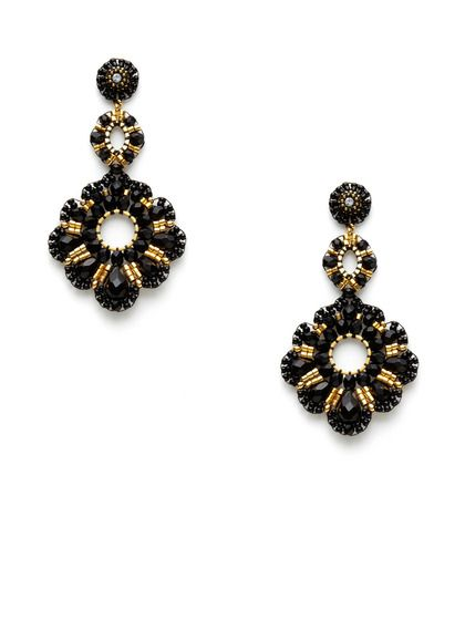 $355 -     165     Miguel Ases Gold & Black Bead Triple Drop Earrings  14K yellow gold fill, 18K yellow gold plated base metal, and black Miyuki bead triple drop earrings with Swarovski crystal accents        3 inches long      1.6 inches at widest point      Post back closure