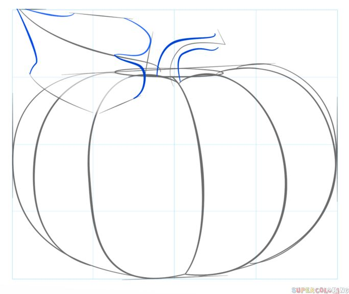 How to draw a pumpkin step by step. Drawing tutorials for kids and beginners.