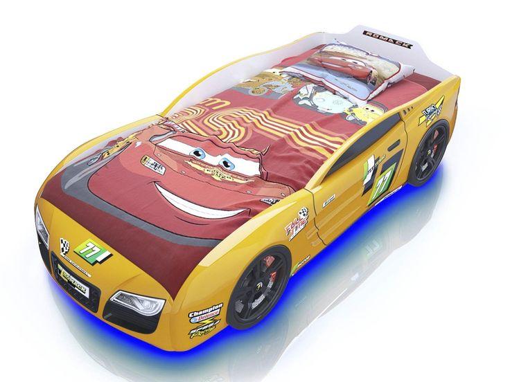 """Детская кроватка-машинка """"Renner 2"""" (желтая)"""