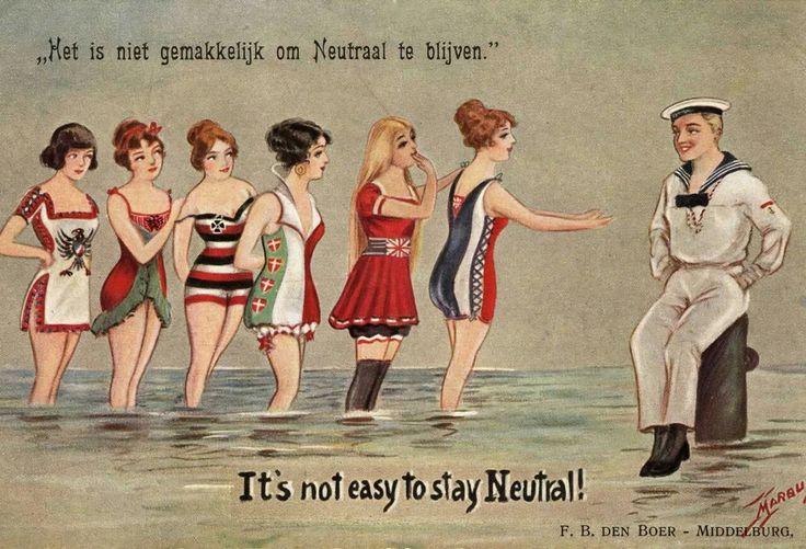 Nederland blijft neutraal in de eerste wereldoorlog. Cartoon die spot met de Nederlandse neutraliteit tijdens de Eerste Wereldoorlog.  Een Nederlandse matroos wordt door verschillende mooie vrouwen (de oorlogsvoerende landen) benaderd. Datum onbekend. Foto HH/Spaarnestad Photo