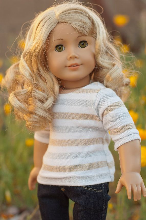 Doll Clothes: 3/4 Sleeve Cream Sweater with Gold and Silver Stripes for an American Girl Doll or other 18 Inch Dolls