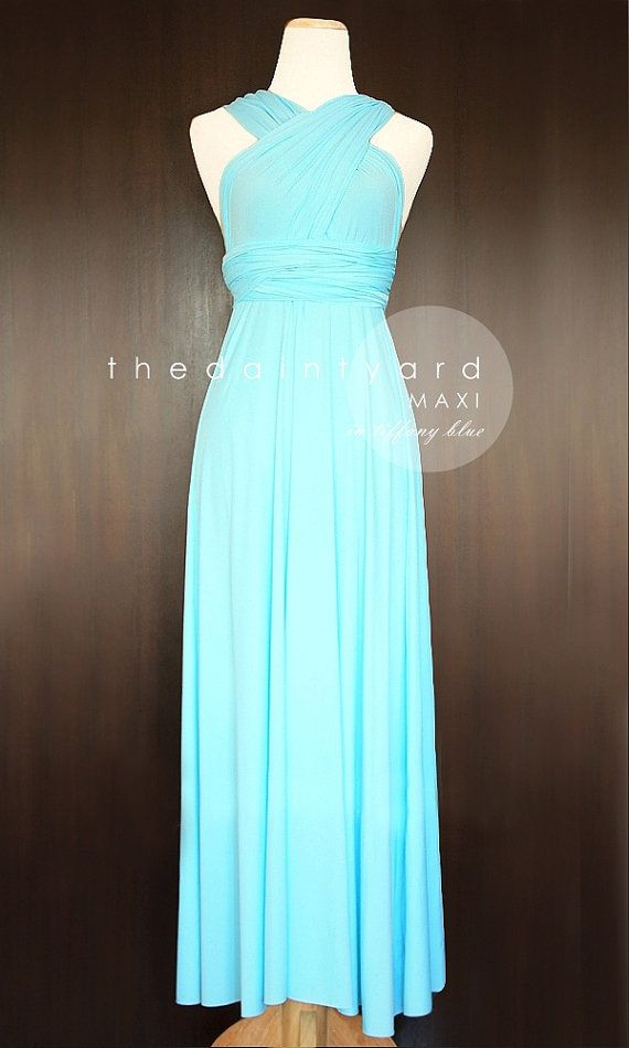 Maxi turquoise bridesmaid dress convertible dress infinity for Wedding dresses with tiffany blue