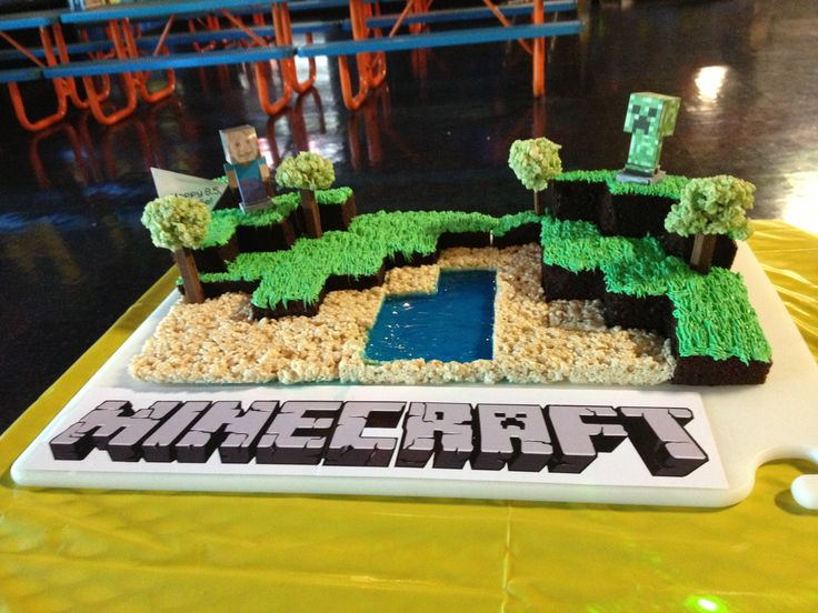 "This is the Minecraft cake I made for my son's birthday! Pretty darn easy. Chocolate cake cut as shown and stacked, green piped icing (using the ""grass"" attachment), Kit Kat trees with green rice krispie treat tops, rice krispie treats ""sand"", blue jello water. It was a huge hit!"