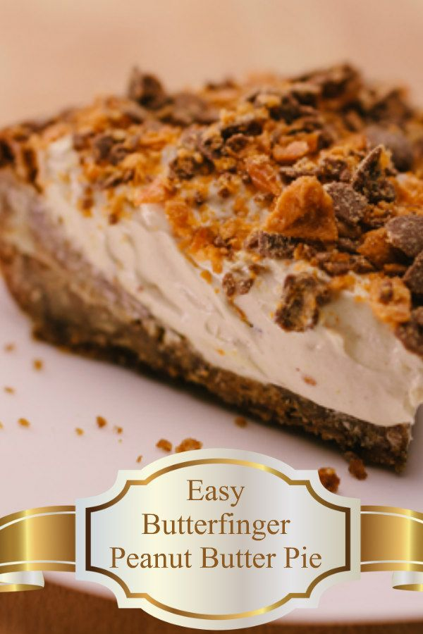 A crust made with a cookie mix then a filling made delicious butterfinger baking bits, peanut butter,  whipped topping and cream cheese.   An easy recipe that you can prepare and cook in less than 30 minutes. #recipe  #pie #peanutbutter #dessert  #easy #easyrecipe #quick