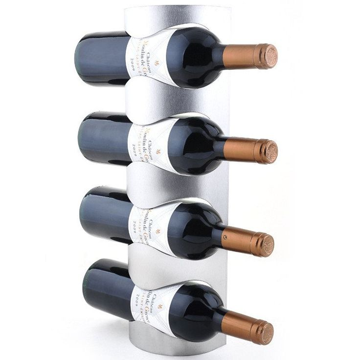 Wall Mounted Wine Bottle Holder. Holds 4 Bottles
