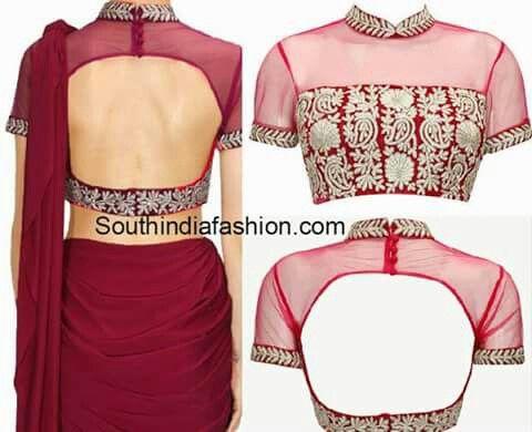High neck sari blouse