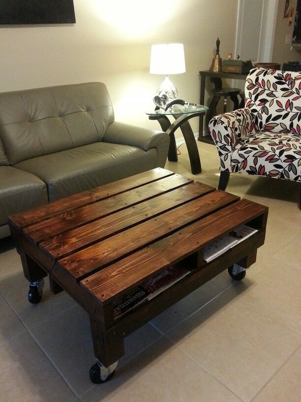 Coffee table made with pallets with side slots to hold magazines $379