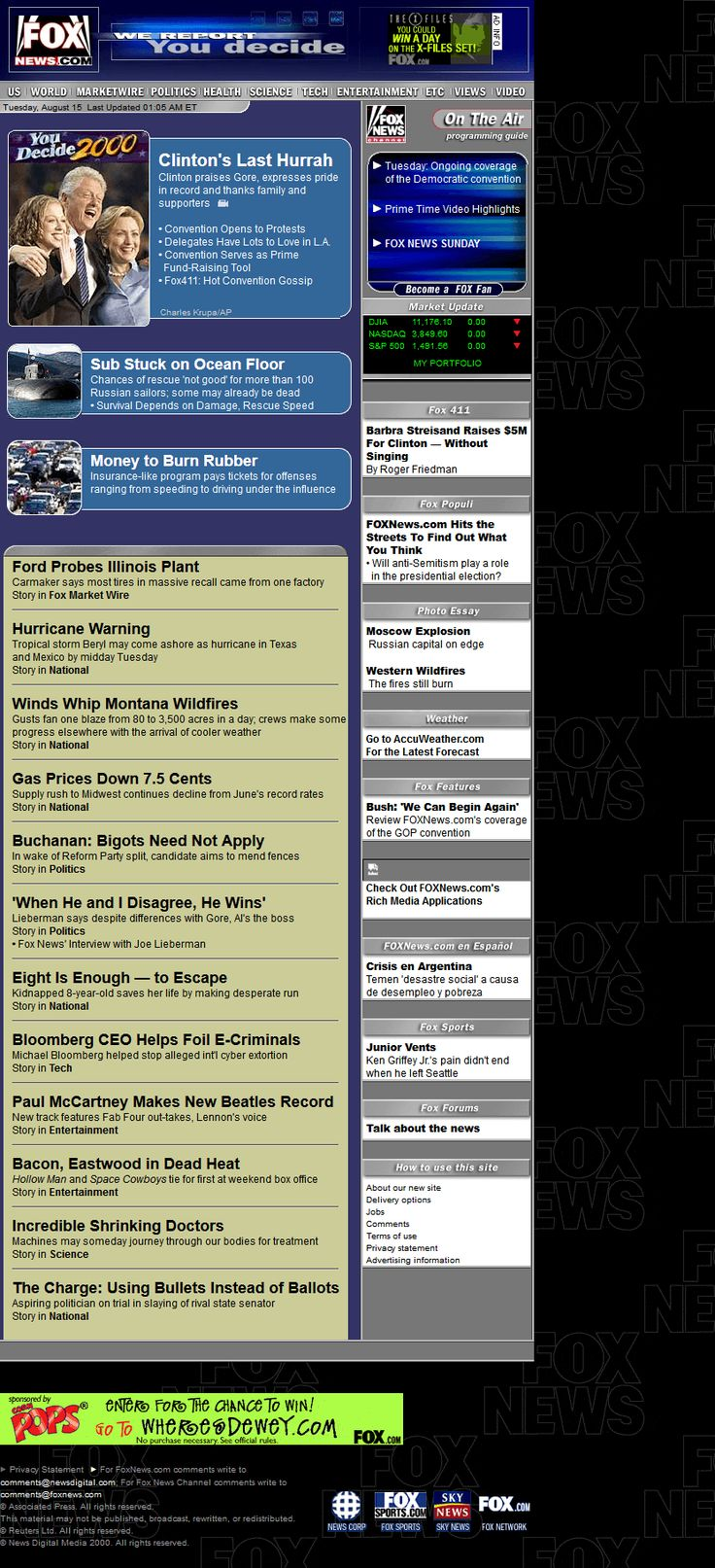 Fox News Channel website in 2000