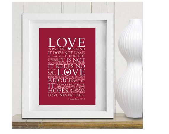 Christian Scripture art, Red Custom Framed Print Bible verse - Love is 1 Corinthians 13:4 7 by petra's wonders