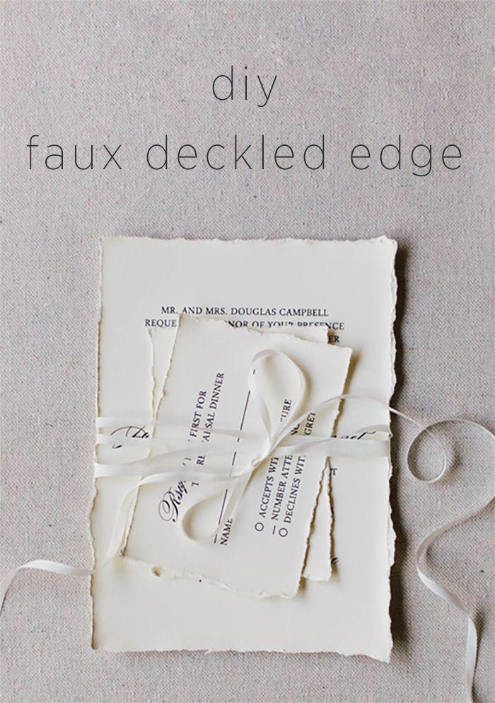 diy faux deckled edge paper | via: once wed