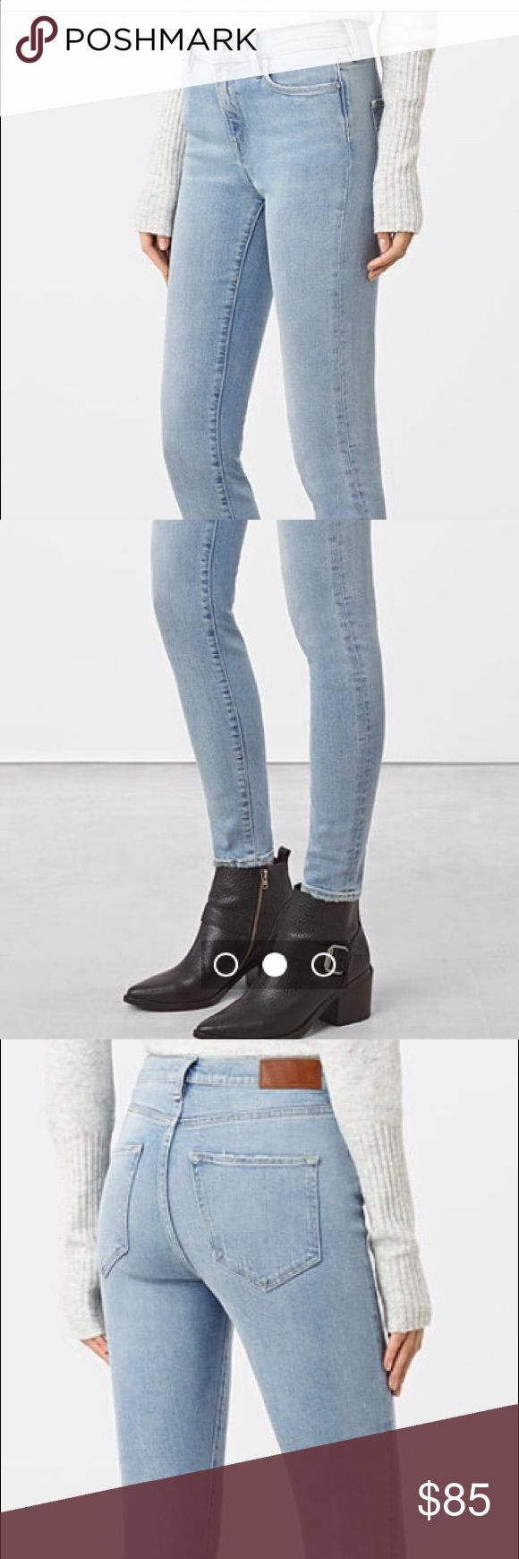 AllSaints skinny jeans, 26, worn once! I knew when I bought these that I should have gotten a size bigger!! I like breathing, so I am parting with them. 😭. They are in like new condition!! All Saints Jeans Skinny