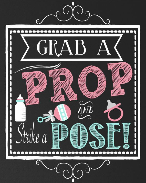 Grab a Prop and Pose baby shower sign, baby shower props for photos, unisex baby shower decoration and prop, 3 sizes