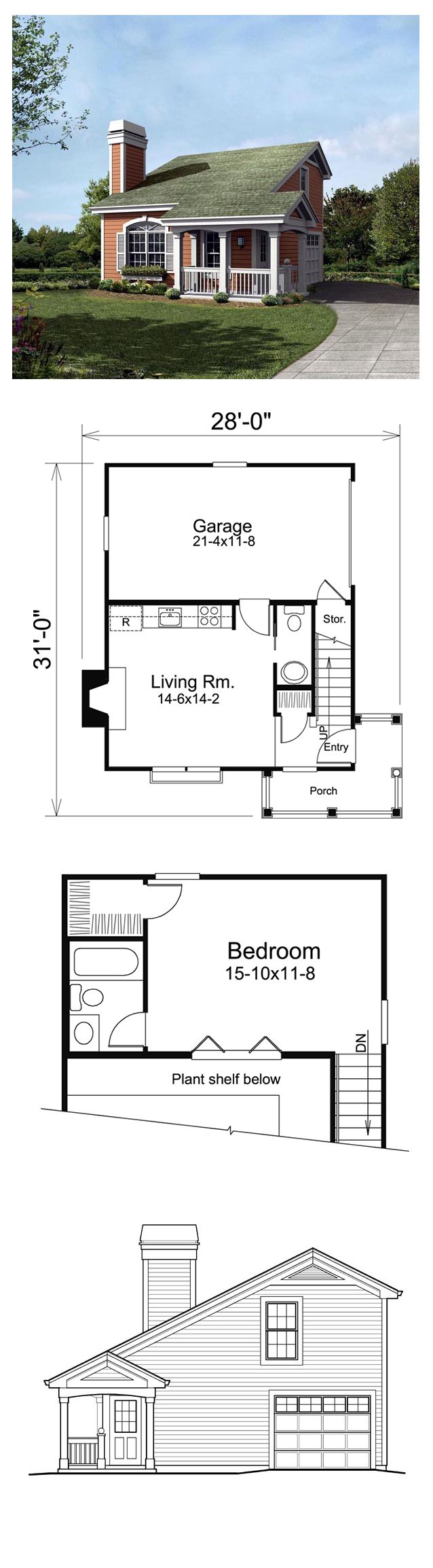 Saltbox Style COOL House Plan ID: chp-51447 | Total Living Area: 641 sq. ft., 1 bedroom & 1.5 bathrooms. #houseplan #saltboxstyle