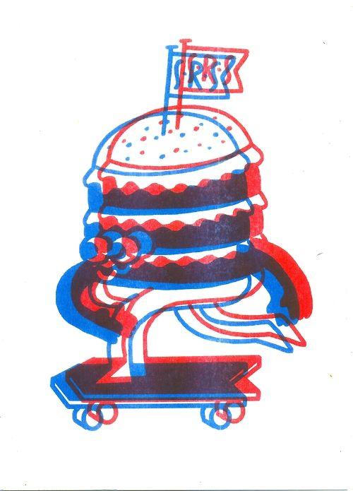 Skating Burger, Nice!   Risograph Print