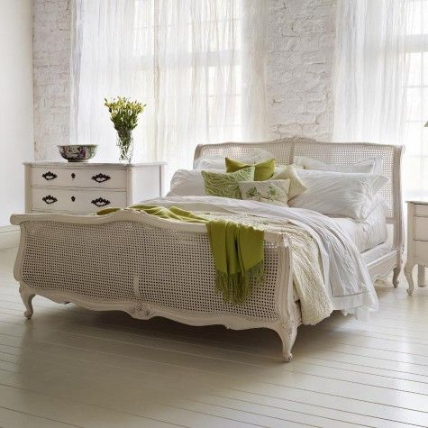 This looks wonderful in this white painted finish, as shown here: Louis XV Caned Hand Painted Wooden Bed from AND SO TO BED