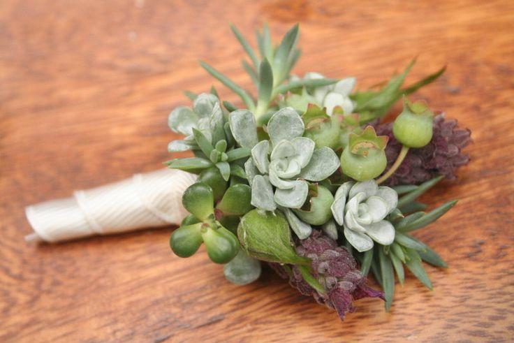 Boutonnieres, succulents, blueberries, lavender, natural elements.. $15.00, via Etsy.
