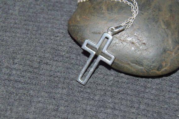 sterling silver cross necklace catholic gift christian