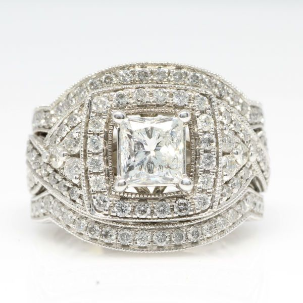 2 CTW Princess Cut Engagement Ring and Wedding Bands. Diamond Exchange Dallas has a large selection of wholesale diamonds and engagement rings. Find out more about our selection at http://diamondexchangedallas.com/engagement-rings-dallas