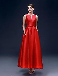 Formal Evening Dress A-line Bateau Ankle-length Satin Dress – USD $ 139.99