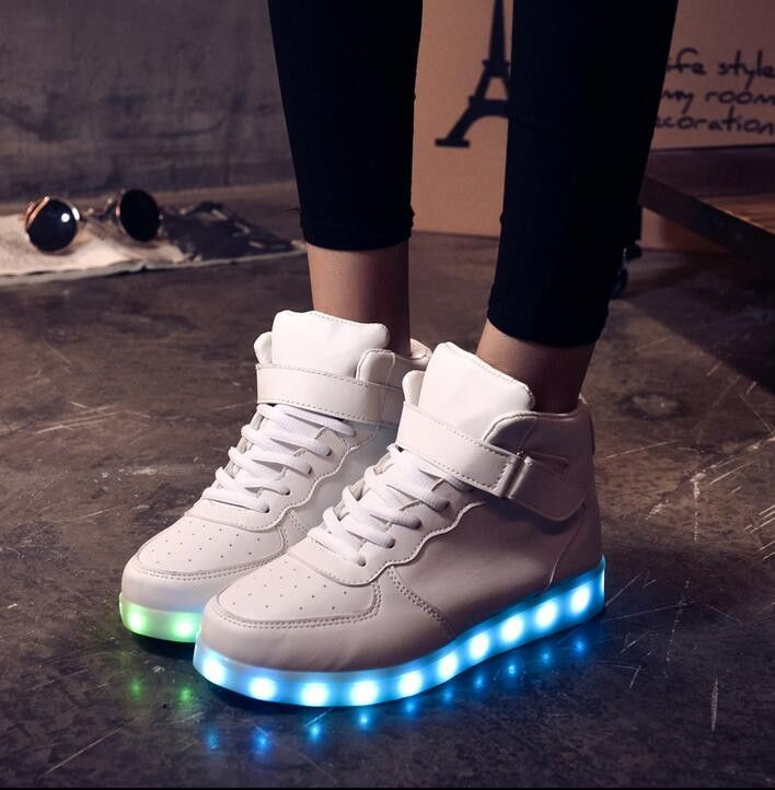 women shiny led strainers light up lumious lace up sneakers casual flat  shoes sz