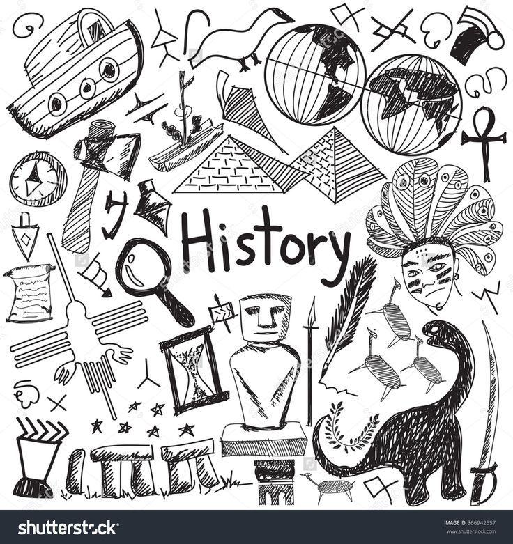 Geschichtsbildungs-Thema-Handschrift-Gekritzelikone des lokalisierten Hintergrundpapiers des Markste…