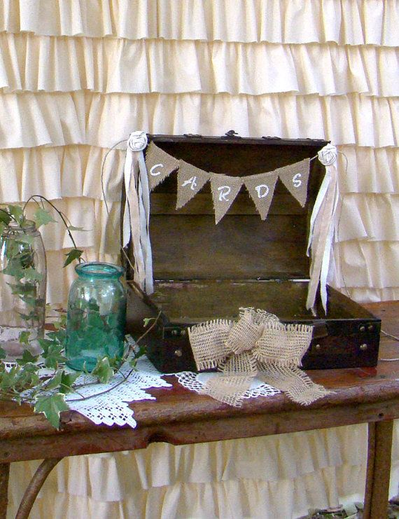 Wedding Card Suitcase Medium Box with Burlap Banner, Wedding Card Holder, Bunting, Rustic Distressed