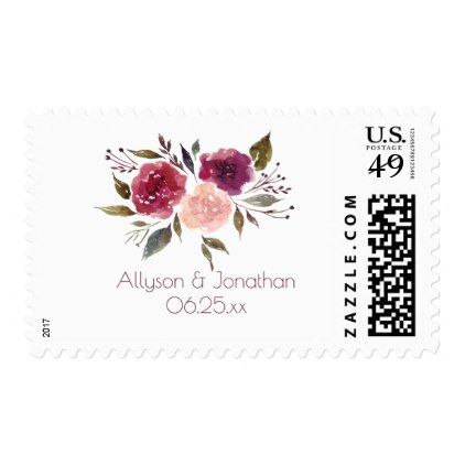 Rustic Watercolor Burgundy Pink Marsala Floral   Postage - summer wedding diy marriage customize personalize couple idea individuel