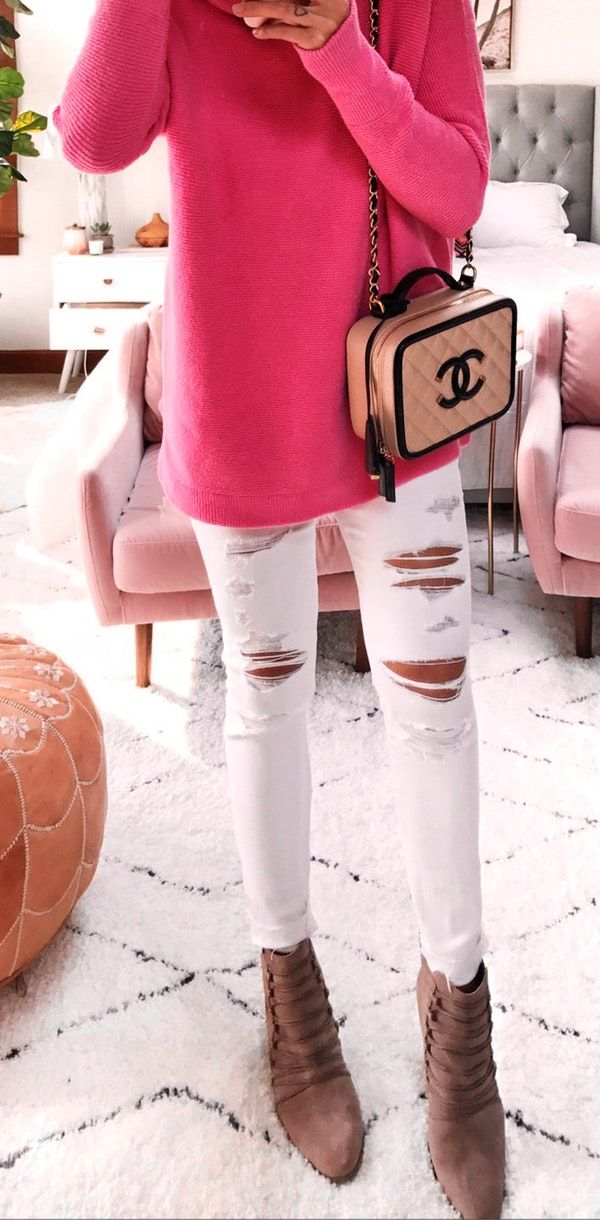 #fall #outfits white distressed jeans
